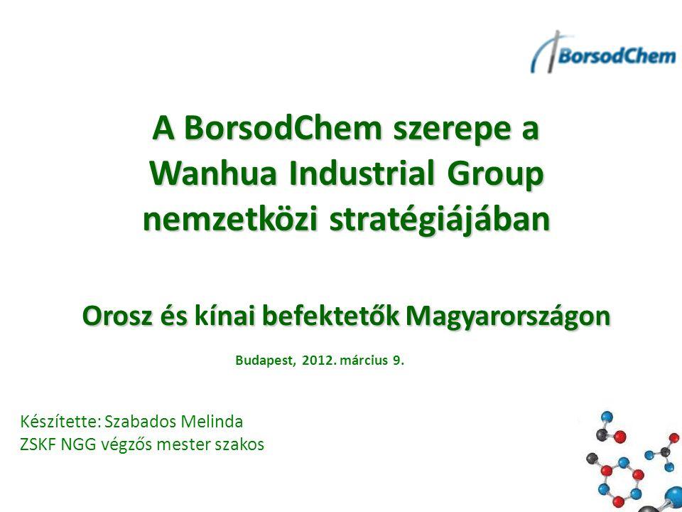 Orosz ésínai befektetők Magyarországon Orosz és kínai befektetők Magyarországon A BorsodChem szerepe a Wanhua Industrial Group nemzetközi stratégiájában Készítette: Szabados Melinda ZSKF NGG végzős mester szakos Budapest, 2012.