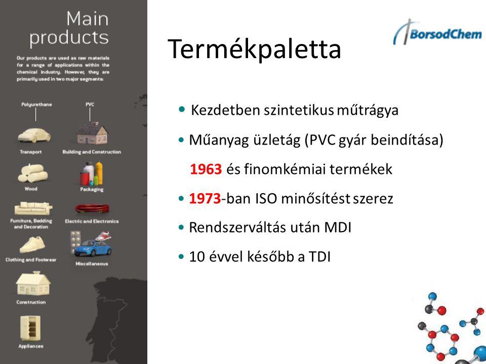 Termékpaletta Kezdetben szintetikus műtrágya Műanyag üzletág (PVC gyár beindítása) 1963 és finomkémiai termékek 1973-ban ISO minősítést szerez Rendszerváltás után MDI 10 évvel később a TDI