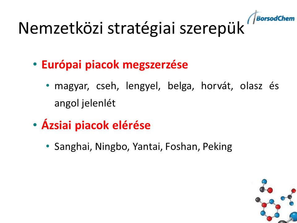 Nemzetközi stratégiai szerepük Európai piacok megszerzése magyar, cseh, lengyel, belga, horvát, olasz és angol jelenlét Ázsiai piacok elérése Sanghai, Ningbo, Yantai, Foshan, Peking