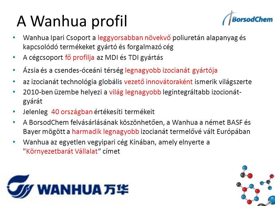 A Wanhua profil Wanhua Ipari Csoport a leggyorsabban növekvő poliuretán alapanyag és kapcsolódó termékeket gyártó és forgalmazó cég A cégcsoport fő profilja az MDI és TDI gyártás Ázsia és a csendes-óceáni térség legnagyobb izocianát gyártója az izocianát technológia globális vezető innovátoraként ismerik világszerte 2010-ben üzembe helyezi a világ legnagyobb legintegráltabb izocionát- gyárát Jelenleg 40 országban értékesíti termékeit A BorsodChem felvásárlásának köszönhetően, a Wanhua a német BASF és Bayer mögött a harmadik legnagyobb izocianát termelővé vált Európában Wanhua az egyetlen vegyipari cég Kínában, amely elnyerte a Környezetbarát Vállalat címet