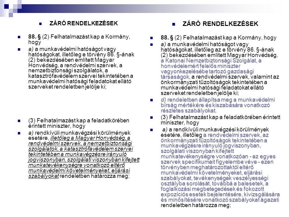 ZÁRÓ RENDELKEZÉSEK 88.