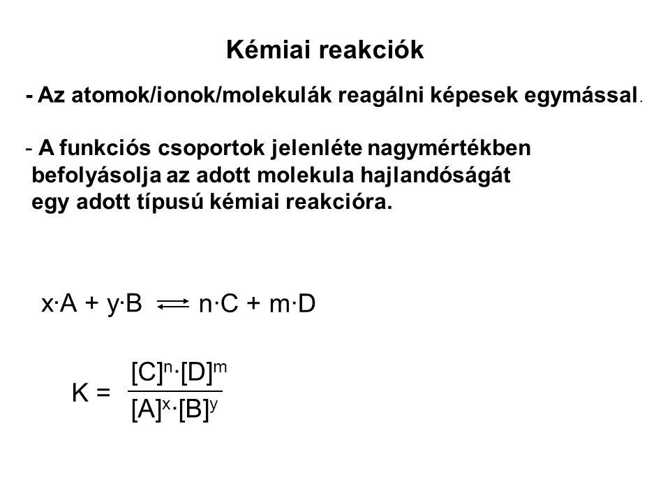 Kémiai reakciók - Az atomok/ionok/molekulák reagálni képesek egymással. - A funkciós csoportok jelenléte nagymértékben befolyásolja az adott molekula