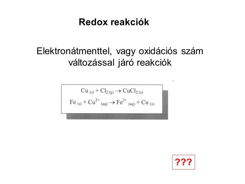 Redox reakciók Elektronátmenttel, vagy oxidációs szám változással járó reakciók