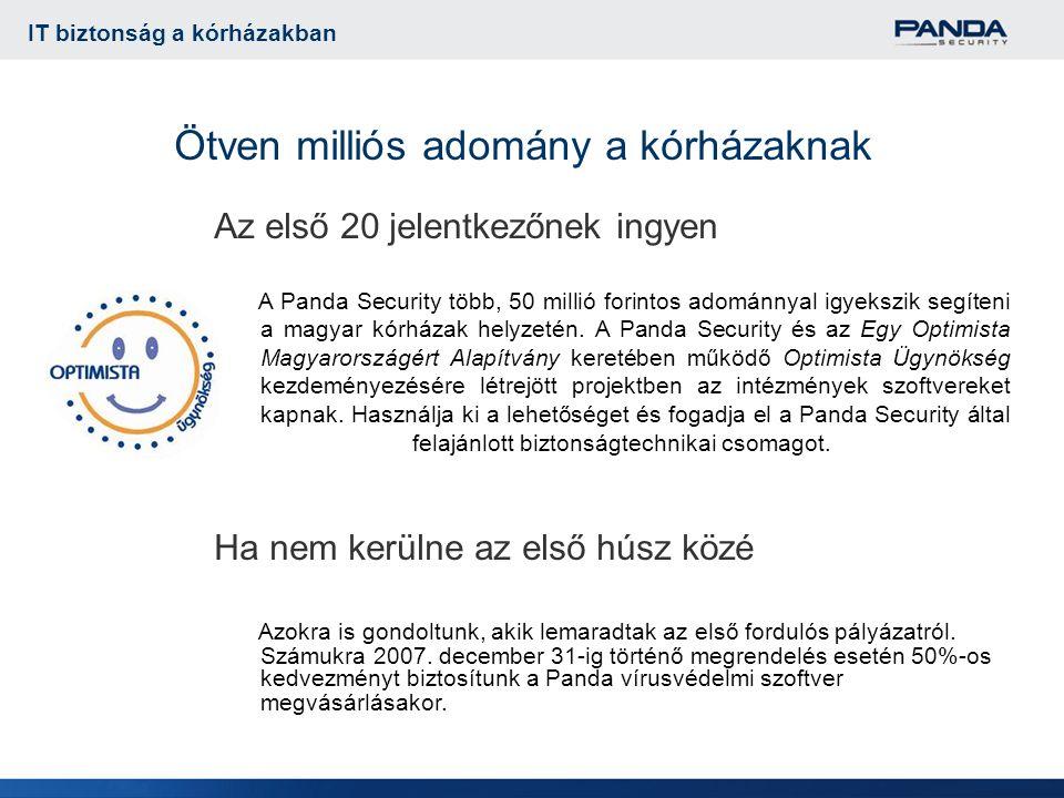 Ötven milliós adomány a kórházaknak Az első 20 jelentkezőnek ingyen A Panda Security több, 50 millió forintos adománnyal igyekszik segíteni a magyar kórházak helyzetén.