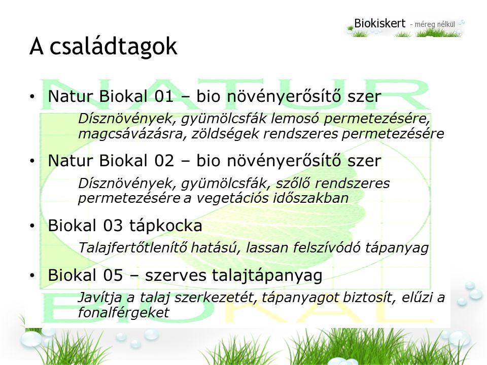 A családtagok Natur Biokal 01 – bio növényerősítő szer Dísznövények, gyümölcsfák lemosó permetezésére, magcsávázásra, zöldségek rendszeres permetezésére Natur Biokal 02 – bio növényerősítő szer Dísznövények, gyümölcsfák, szőlő rendszeres permetezésére a vegetációs időszakban Biokal 03 tápkocka Talajfertőtlenítő hatású, lassan felszívódó tápanyag Biokal 05 – szerves talajtápanyag Javítja a talaj szerkezetét, tápanyagot biztosít, elűzi a fonalférgeket