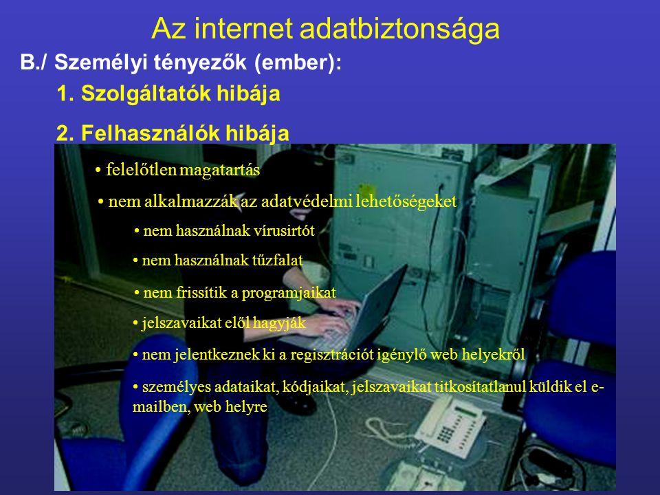 Az internet adatbiztonsága B./ Személyi tényezők (ember): felelőtlen magatartás nem alkalmazzák az adatvédelmi lehetőségeket 1.Szolgáltatók hibája 2.F