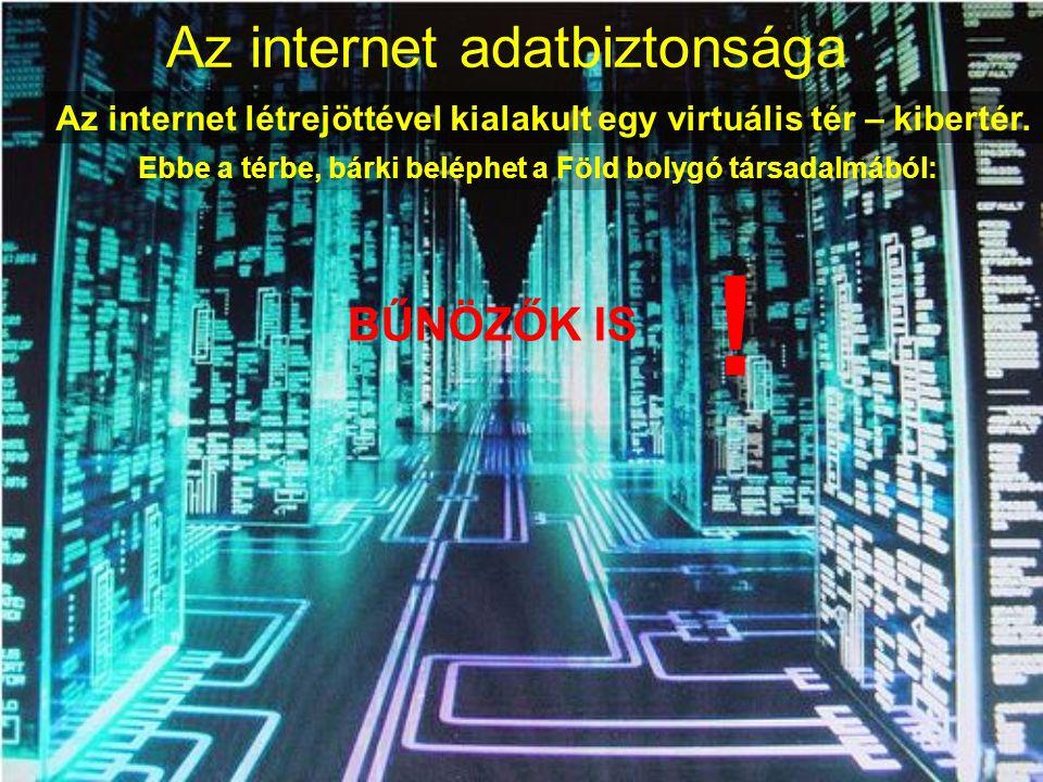 Az internet adatbiztonsága Az internet létrejöttével kialakult egy virtuális tér – kibertér. Ebbe a térbe, bárki beléphet a Föld bolygó társadalmából: