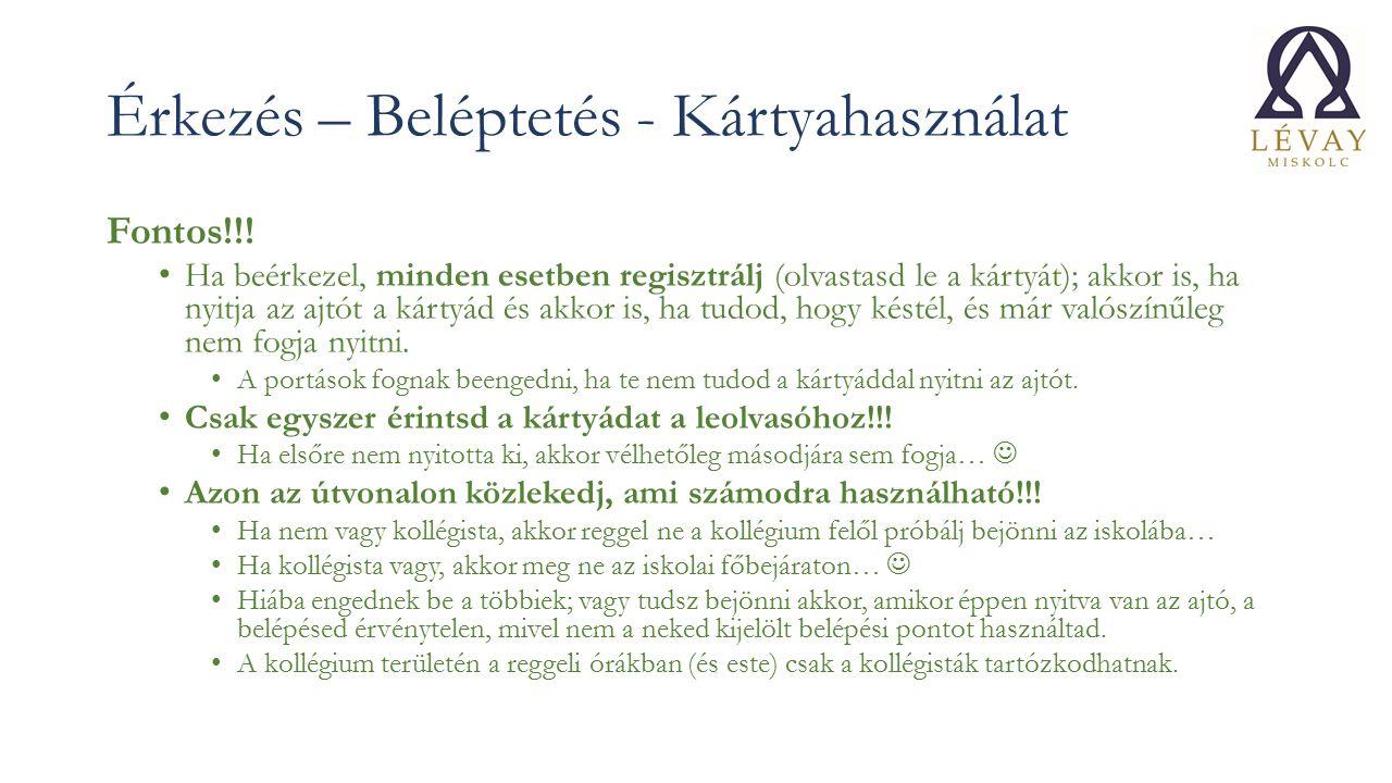 Érkezés – Beléptetés - Kártyahasználat Fontos!!.
