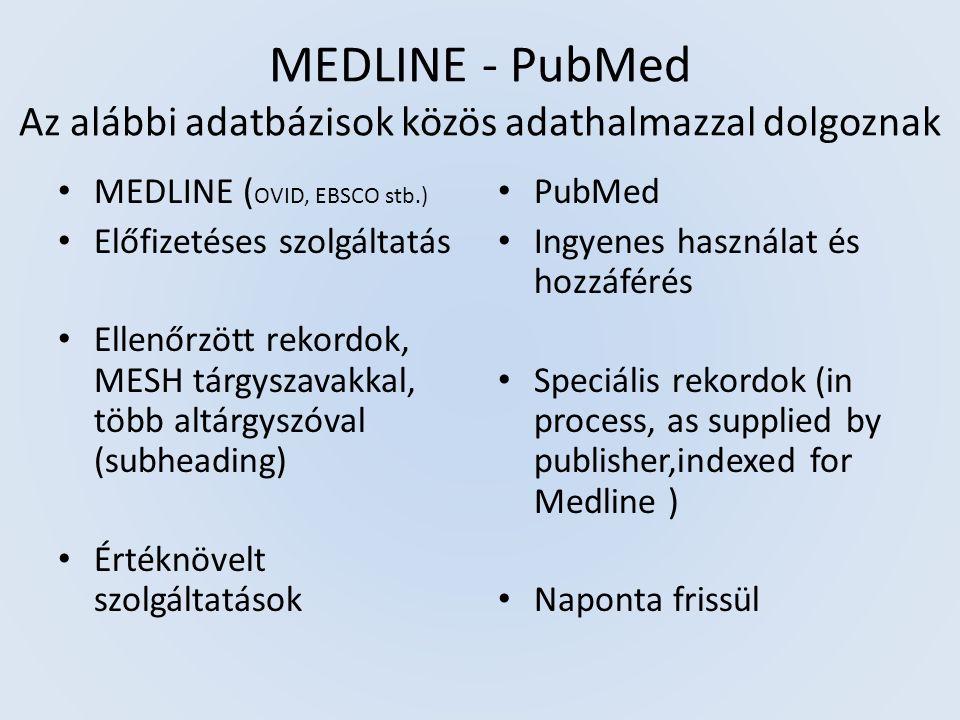 PubMed rekordok: (90% MEDLINE rekord, 2% in process, 8% egyéb) PubMed - in process PubMed - as supplied by publisher PubMed - indexed for MEDLINE
