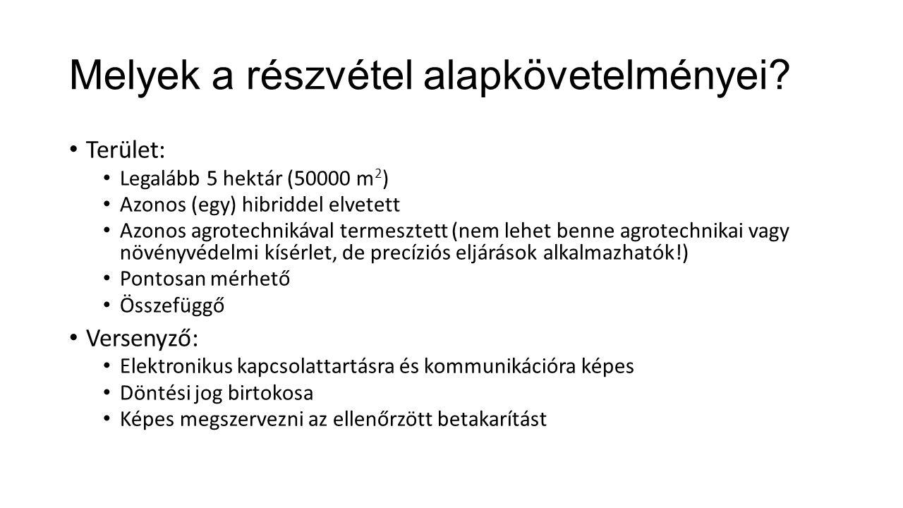 Melyek a részvétel alapkövetelményei? Terület: Legalább 5 hektár (50000 m 2 ) Azonos (egy) hibriddel elvetett Azonos agrotechnikával termesztett (nem