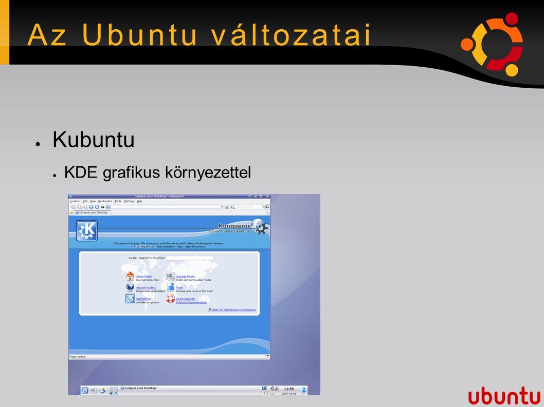 Az Ubuntu változatai ● Kubuntu ● KDE grafikus környezettel