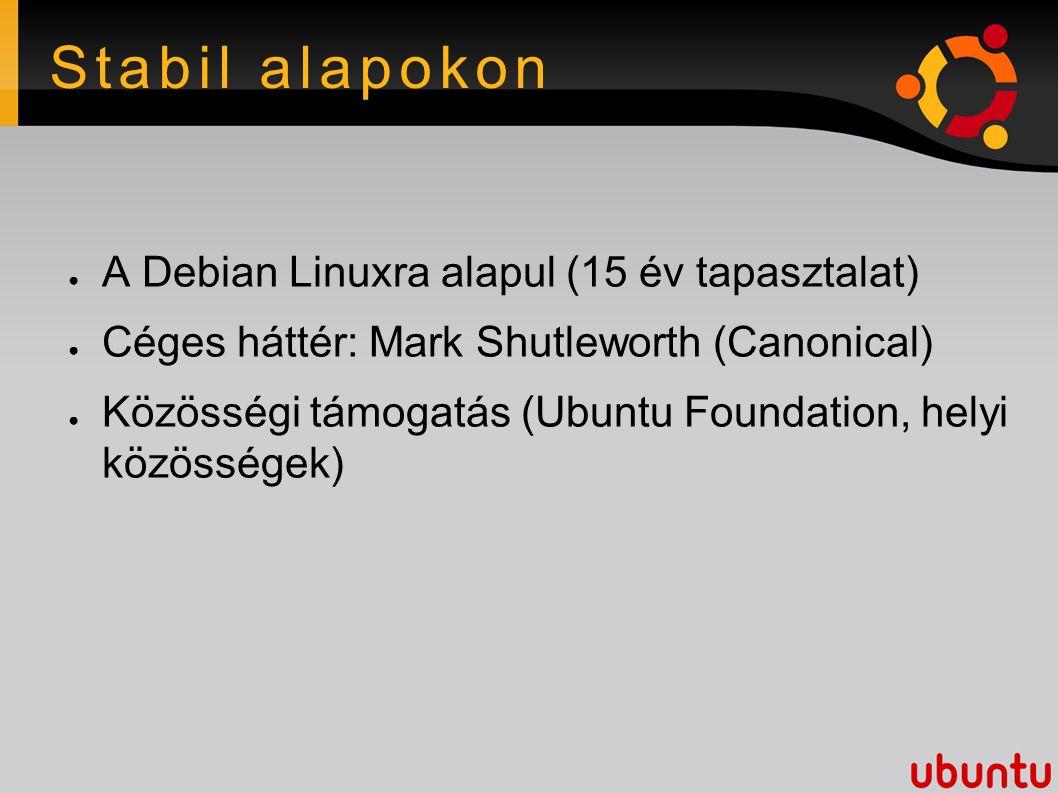 Stabil alapokon ● A Debian Linuxra alapul (15 év tapasztalat) ● Céges háttér: Mark Shutleworth (Canonical) ● Közösségi támogatás (Ubuntu Foundation, helyi közösségek)