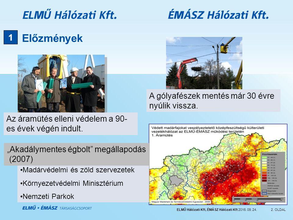ELMŰ Hálózati Kft, ÉMÁSZ Hálózati Kft 2016. 09. 24.2. OLDAL Előzmények 1 Madárvédelmi és zöld szervezetek Környezetvédelmi Minisztérium Nemzeti Parkok