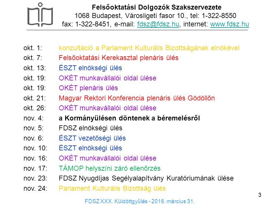 3 Felsőoktatási Dolgozók Szakszervezete 1068 Budapest, Városligeti fasor 10., tel: 1-322-8550 fax: 1-322-8451, e-mail: fdsz@fdsz.hu, internet: www.fds
