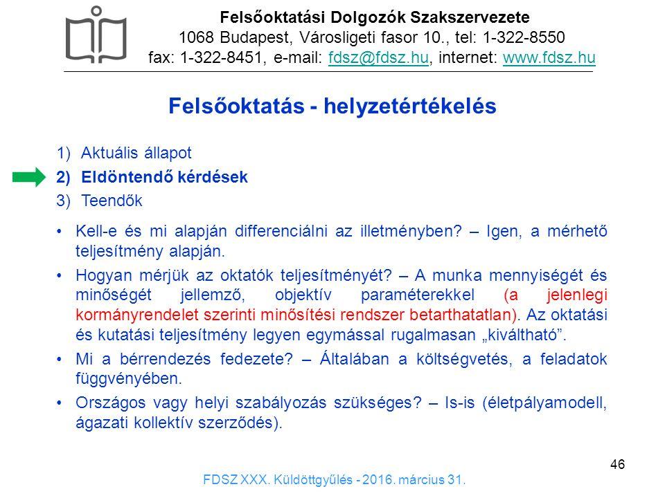 46 1)Aktuális állapot 2)Eldöntendő kérdések 3)Teendők Felsőoktatási Dolgozók Szakszervezete 1068 Budapest, Városligeti fasor 10., tel: 1-322-8550 fax: