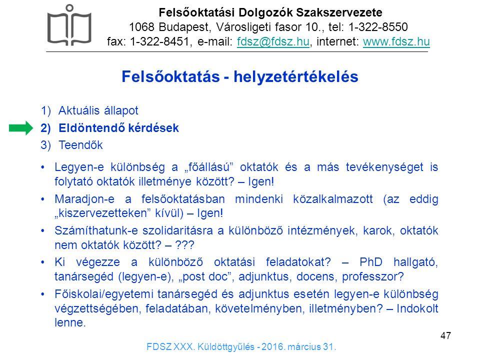 47 1)Aktuális állapot 2)Eldöntendő kérdések 3)Teendők Felsőoktatási Dolgozók Szakszervezete 1068 Budapest, Városligeti fasor 10., tel: 1-322-8550 fax: