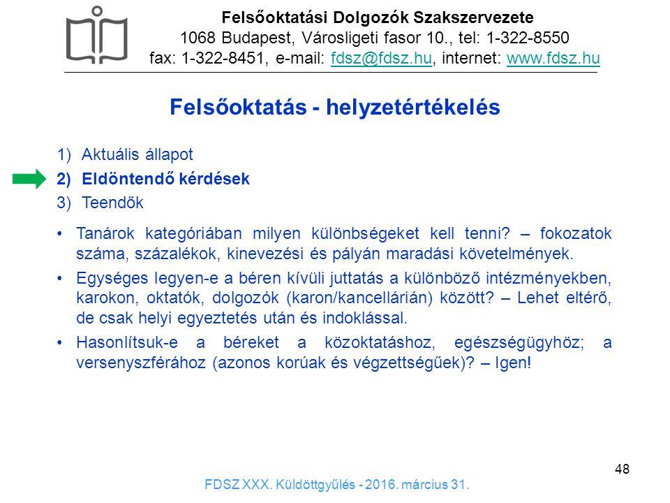 48 1)Aktuális állapot 2)Eldöntendő kérdések 3)Teendők Felsőoktatási Dolgozók Szakszervezete 1068 Budapest, Városligeti fasor 10., tel: 1-322-8550 fax: