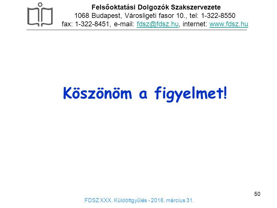 50 Köszönöm a figyelmet! Felsőoktatási Dolgozók Szakszervezete 1068 Budapest, Városligeti fasor 10., tel: 1-322-8550 fax: 1-322-8451, e-mail: fdsz@fds