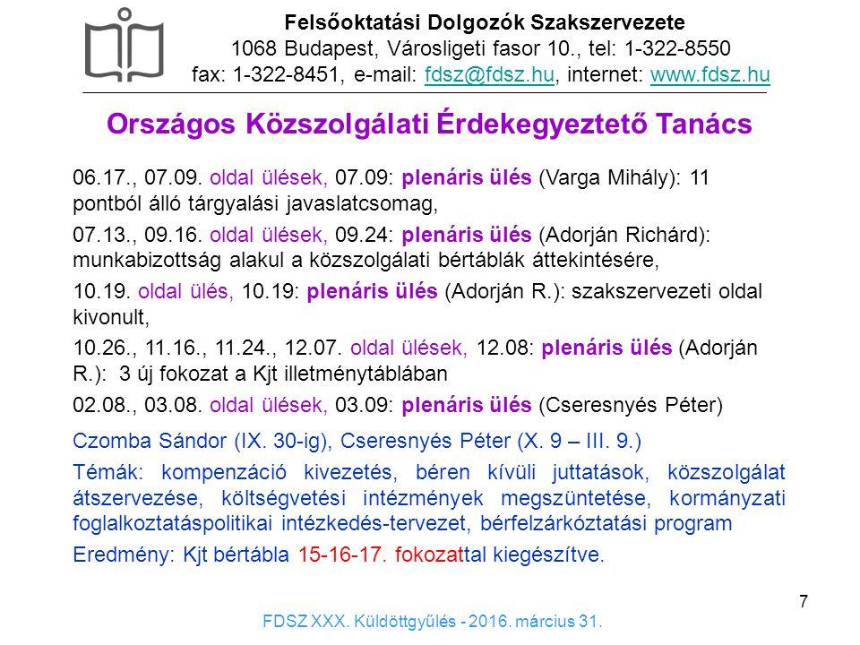 7 Országos Közszolgálati Érdekegyeztető Tanács 06.17., 07.09. oldal ülések, 07.09: plenáris ülés (Varga Mihály): 11 pontból álló tárgyalási javaslatcs