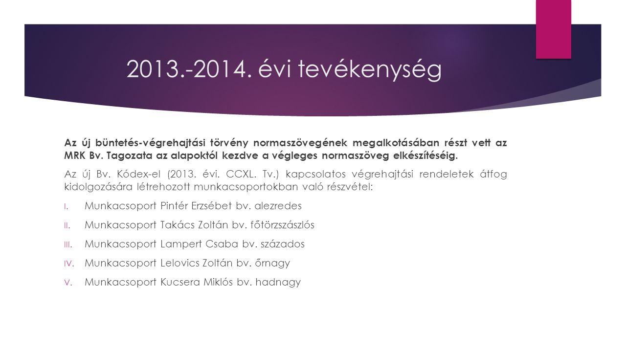 2013.-2014.évi tevékenység  A Tagozat kidolgozott egy 13.