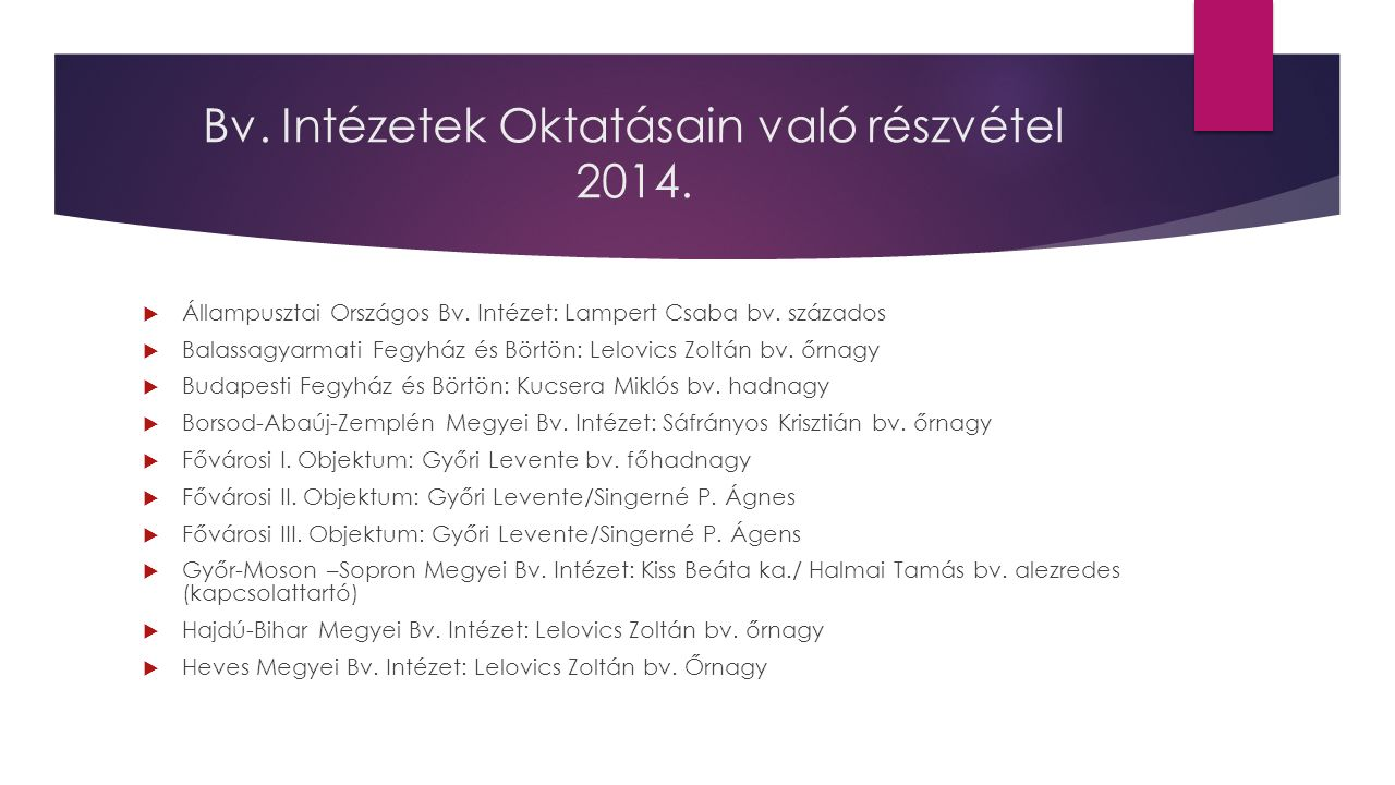 Bv. Intézetek Oktatásain való részvétel 2014.  Állampusztai Országos Bv.