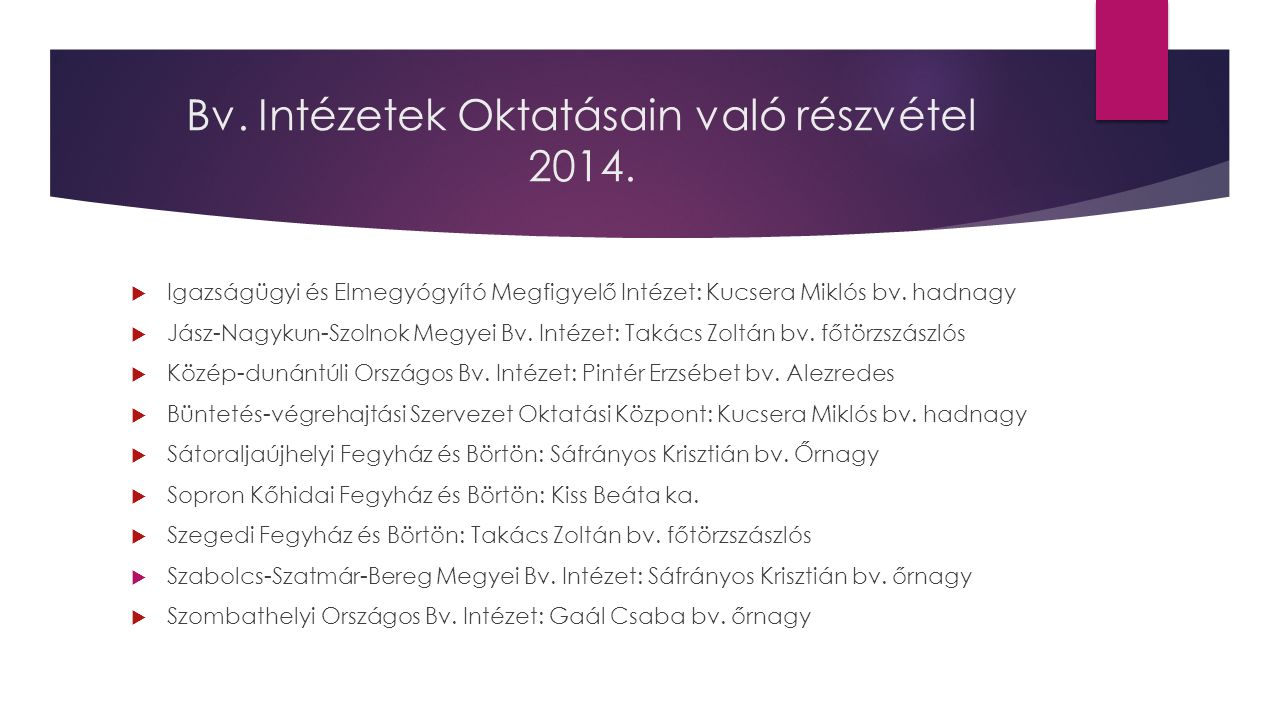 Bv.Intézetek Oktatásain való részvétel 2014.  Tiszalöki Országos Bv.