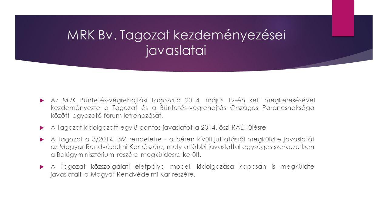 MRK Bv. Tagozat kezdeményezései javaslatai  Az MRK Büntetés-végrehajtási Tagozata 2014.