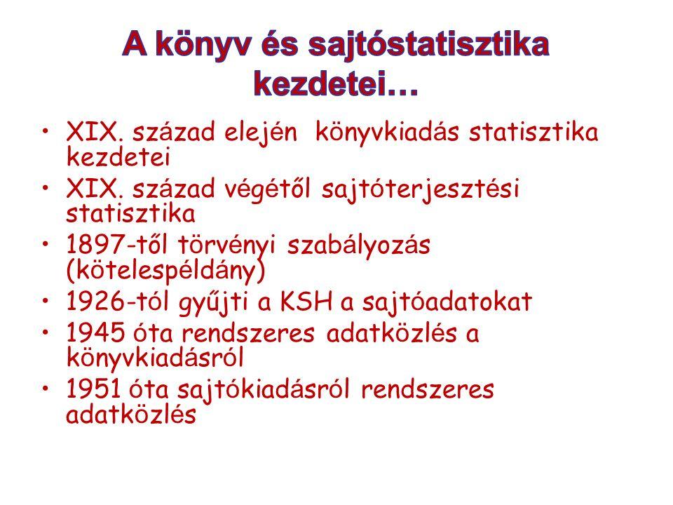 XIX.sz á zad elej é n k ö nyvkiad á s statisztika kezdetei XIX.