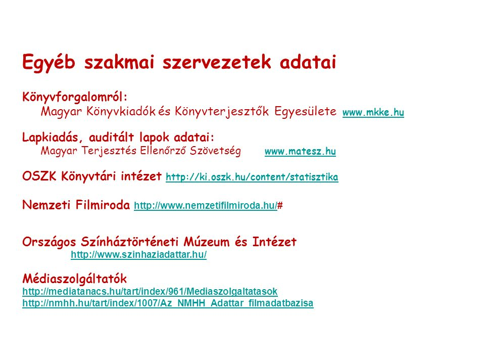 Egyéb szakmai szervezetek adatai Könyvforgalomról: Magyar Könyvkiadók és Könyvterjesztők Egyesülete www.mkke.hu www.mkke.hu Lapkiadás, auditált lapok