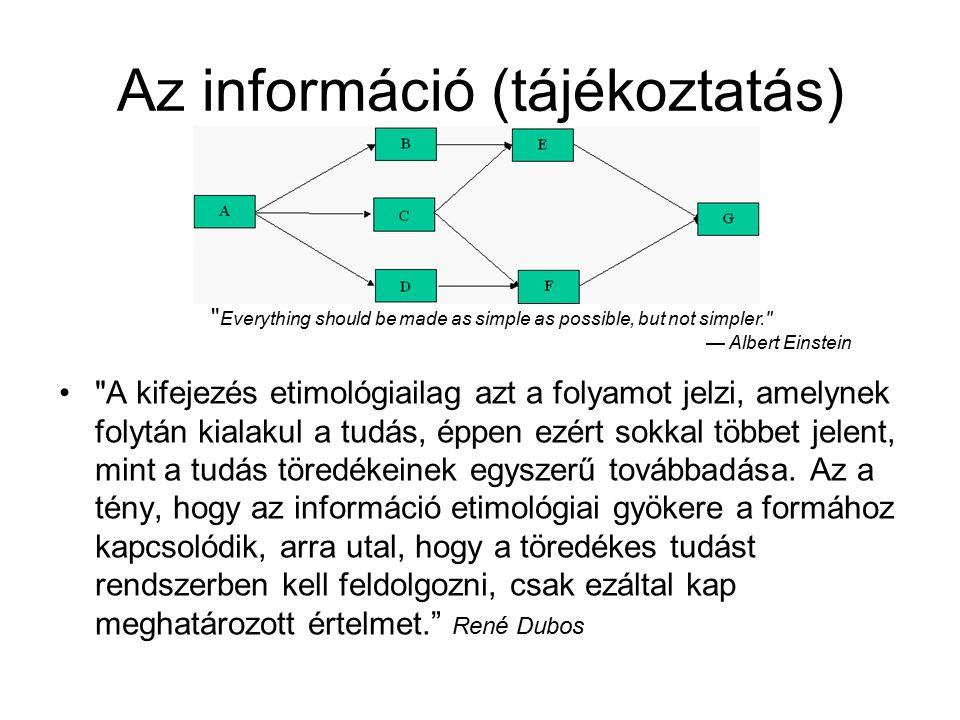Az információ (tájékoztatás) A kifejezés etimológiailag azt a folyamot jelzi, amelynek folytán kialakul a tudás, éppen ezért sokkal többet jelent, mint a tudás töredékeinek egyszerű továbbadása.