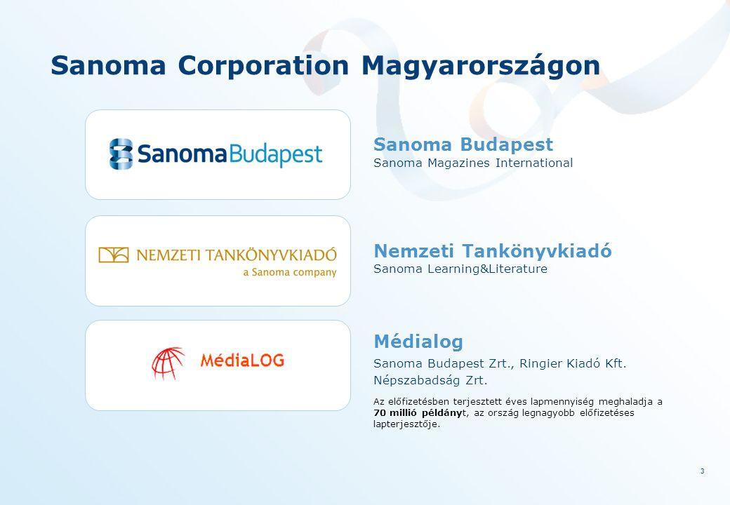 3 Sanoma Corporation Magyarországon Sanoma Budapest Nemzeti Tankönyvkiadó Médialog Sanoma Magazines International Sanoma Learning&Literature Sanoma Budapest Zrt., Ringier Kiadó Kft.