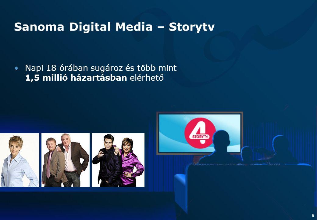 6 6 Sanoma Digital Media – Storytv Napi 18 órában sugároz és több mint 1,5 millió házartásban elérhető
