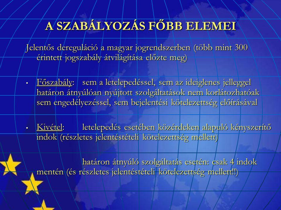 A SZABÁLYOZÁS FŐBB ELEMEI Jelentős dereguláció a magyar jogrendszerben (több mint 300 érintett jogszabály átvilágítása előzte meg) Főszabály: sem a letelepedéssel, sem az ideiglenes jelleggel határon átnyúlóan nyújtott szolgáltatások nem korlátozhatóak sem engedélyezéssel, sem bejelentési kötelezettség előírásával Főszabály: sem a letelepedéssel, sem az ideiglenes jelleggel határon átnyúlóan nyújtott szolgáltatások nem korlátozhatóak sem engedélyezéssel, sem bejelentési kötelezettség előírásával Kivétel: letelepedés esetében közérdeken alapuló kényszerítő indok (részletes jelentéstételi kötelezettség mellett) Kivétel: letelepedés esetében közérdeken alapuló kényszerítő indok (részletes jelentéstételi kötelezettség mellett) határon átnyúló szolgáltatás esetén: csak 4 indok mentén (és részletes jelentéstételi kötelezettség mellett!!)
