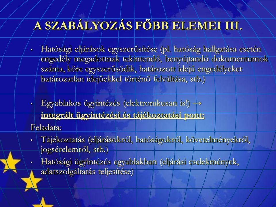 A SZABÁLYOZÁS FŐBB ELEMEI III. Hatósági eljárások egyszerűsítése (pl. hatóság hallgatása esetén engedély megadottnak tekintendő, benyújtandó dokumentu