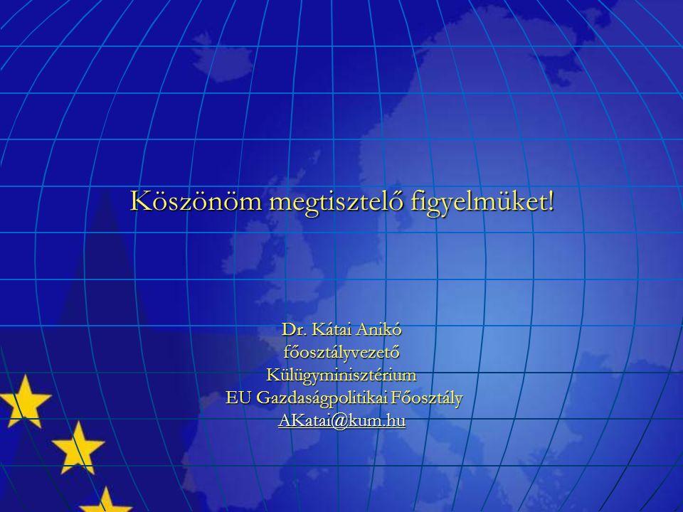 Köszönöm megtisztelő figyelmüket! Dr. Kátai Anikó főosztályvezetőKülügyminisztérium EU Gazdaságpolitikai Főosztály EU Gazdaságpolitikai Főosztály AKat