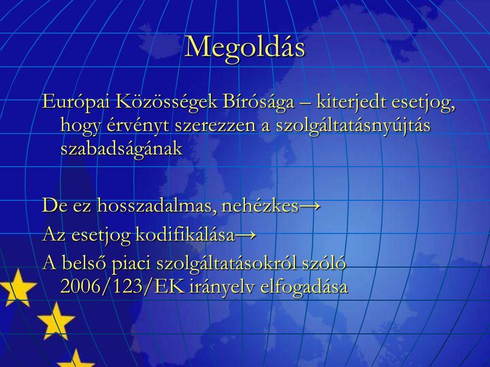 Megoldás Európai Közösségek Bírósága – kiterjedt esetjog, hogy érvényt szerezzen a szolgáltatásnyújtás szabadságának De ez hosszadalmas, nehézkes→ Az esetjog kodifikálása→ A belső piaci szolgáltatásokról szóló 2006/123/EK irányelv elfogadása