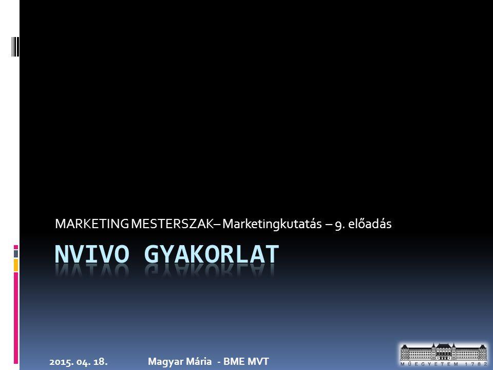 2015. 04. 18.Magyar Mária - BME MVT MARKETING MESTERSZAK– Marketingkutatás – 9. előadás