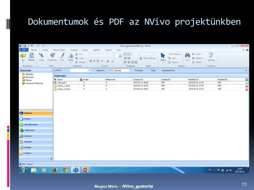 Dokumentumok és PDF az NVivo projektünkben 13 Magyar Mária – NVivo_gyakorlat
