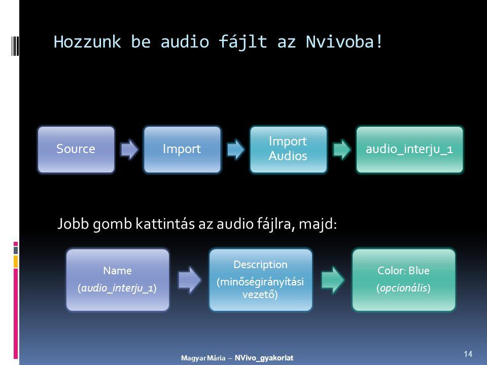 Hozzunk be audio fájlt az Nvivoba! Jobb gomb kattintás az audio fájlra, majd: 14 SourceImport Import Audios audio_interju_1 Name (audio_interju_1) Des