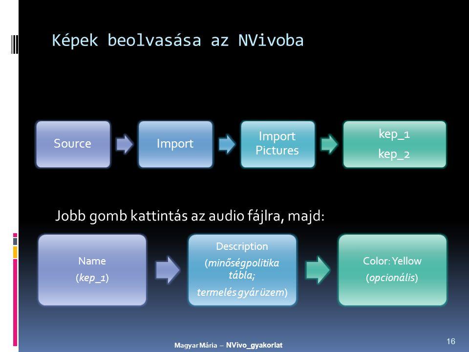 Képek beolvasása az NVivoba Jobb gomb kattintás az audio fájlra, majd: 16 SourceImport Import Pictures kep_1 kep_2 Name (kep_1) Description (minőségpolitika tábla; termelés gyár üzem) Color: Yellow (opcionális) Magyar Mária – NVivo_gyakorlat