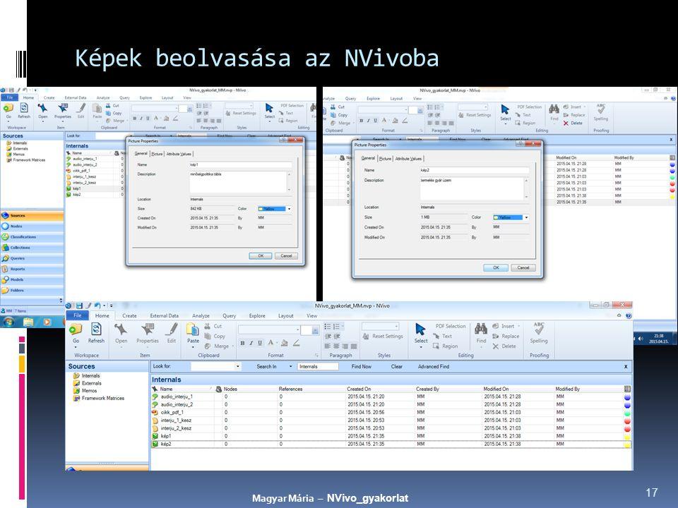 Képek beolvasása az NVivoba 17 Magyar Mária – NVivo_gyakorlat