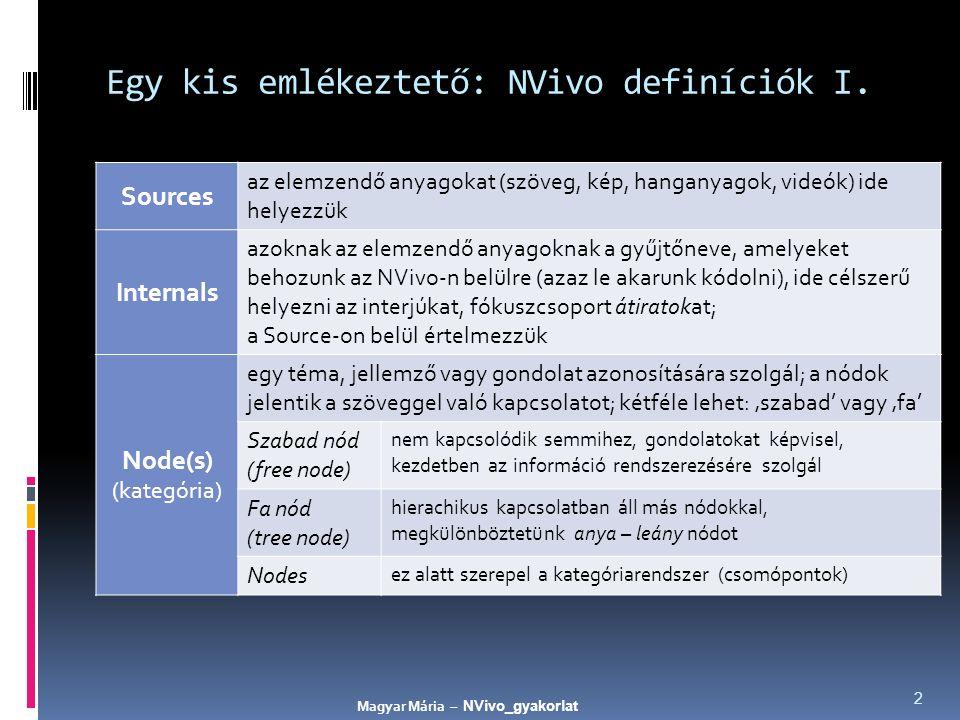 Egy kis emlékeztető: NVivo definíciók I. Sources az elemzendő anyagokat (szöveg, kép, hanganyagok, videók) ide helyezzük Internals azoknak az elemzend