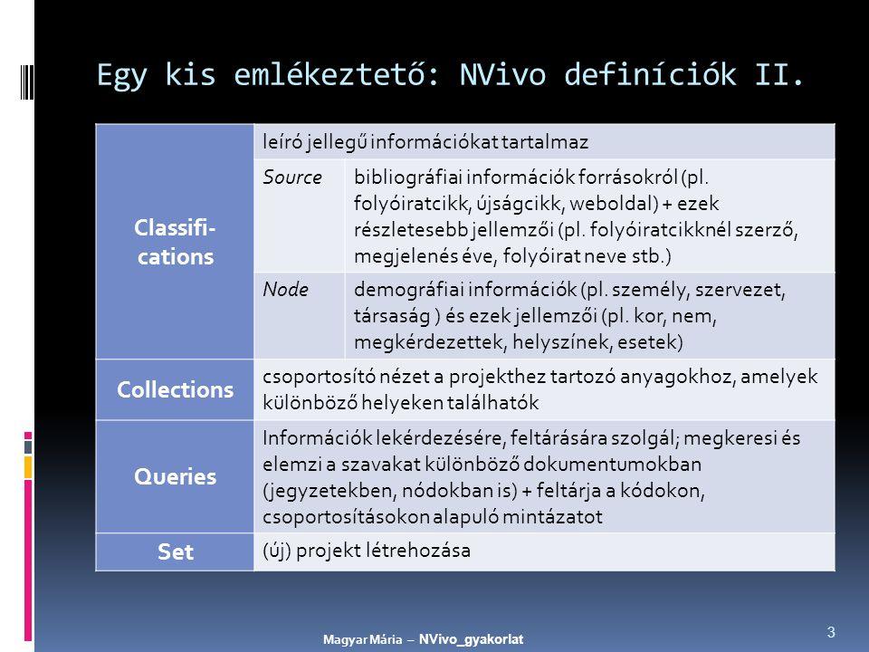 Egy kis emlékeztető: NVivo definíciók II. Classifi- cations leíró jellegű információkat tartalmaz Sourcebibliográfiai információk forrásokról (pl. fol