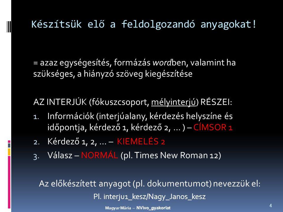 """Kódoljunk a """"Queries segítségével - 'fejlődés' 25 Magyar Mária – NVivo_gyakorlat"""
