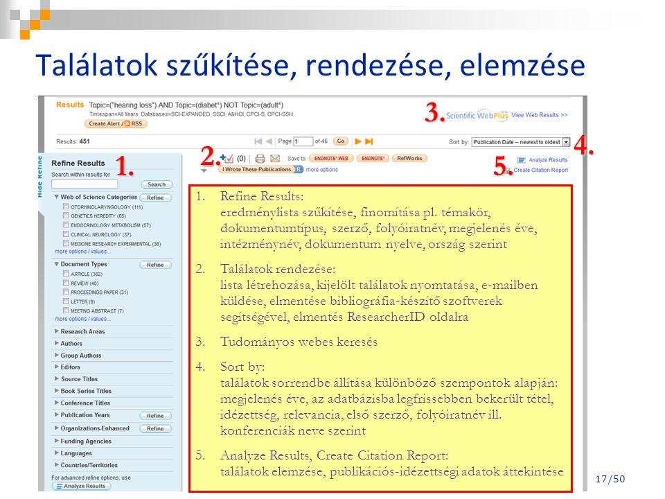 1. 2. 3. 4. 5. 1.Refine Results: eredménylista szűkítése, finomítása pl.