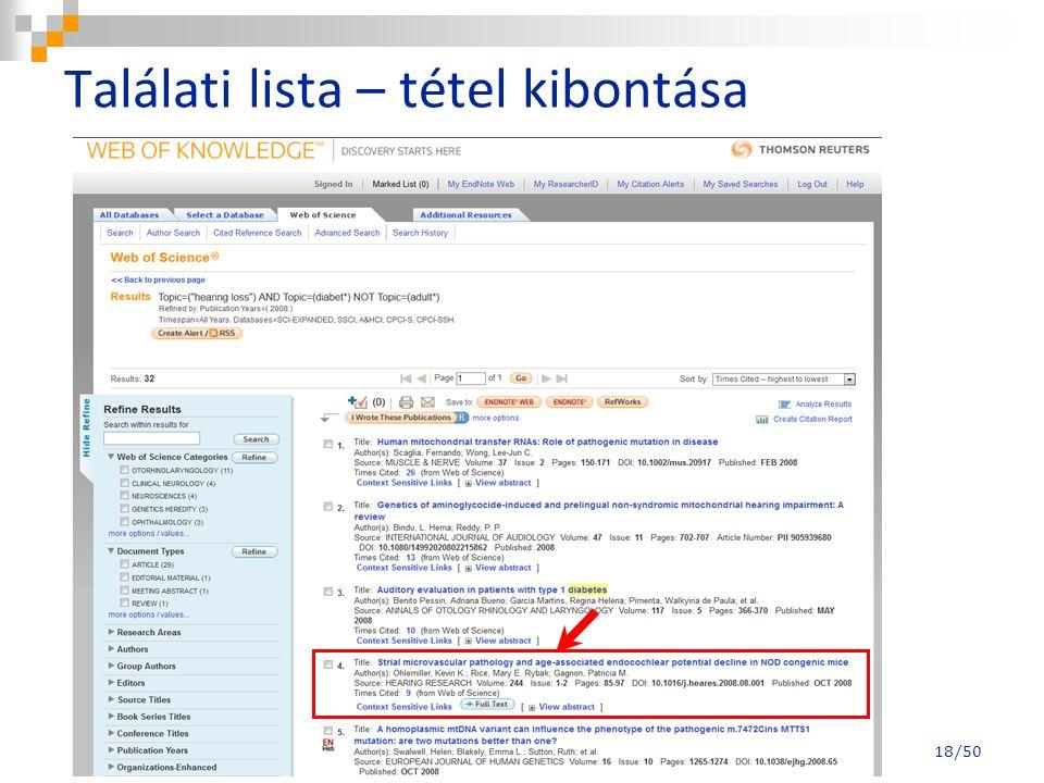 Találati lista – tétel kibontása 18/50