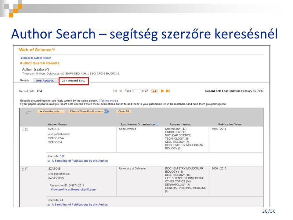 Author Search – segítség szerzőre keresésnél 28/50