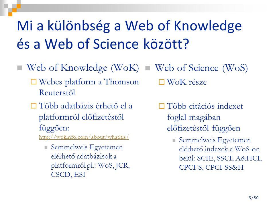 Mi a különbség a Web of Knowledge és a Web of Science között.