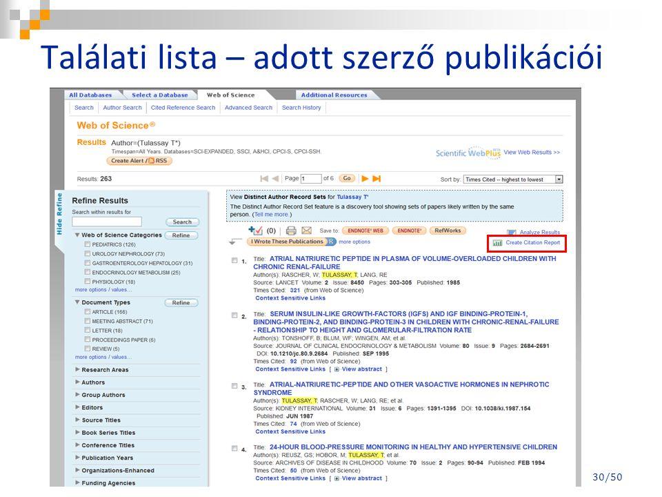 Találati lista – adott szerző publikációi 30/50
