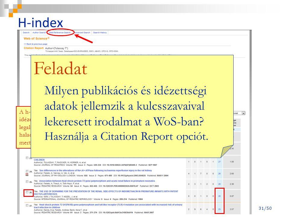 A h-index egy tudománymetriai mutatószám, amely a kutató publikációinak és idézettségének számától függ: az egyén olyan publikációinak h-száma, amelyek legalább h-számú idézetet kaptak a szakirodalomban.
